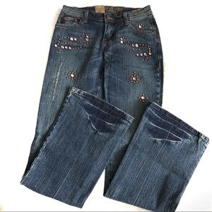 BB Jeans Embellished Wide Legs Stretch Blue Pants